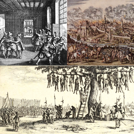 Clockwise from top left: The Defamation of Adolfosburg, the Siege of San Salvador, the Panchague Massacre.